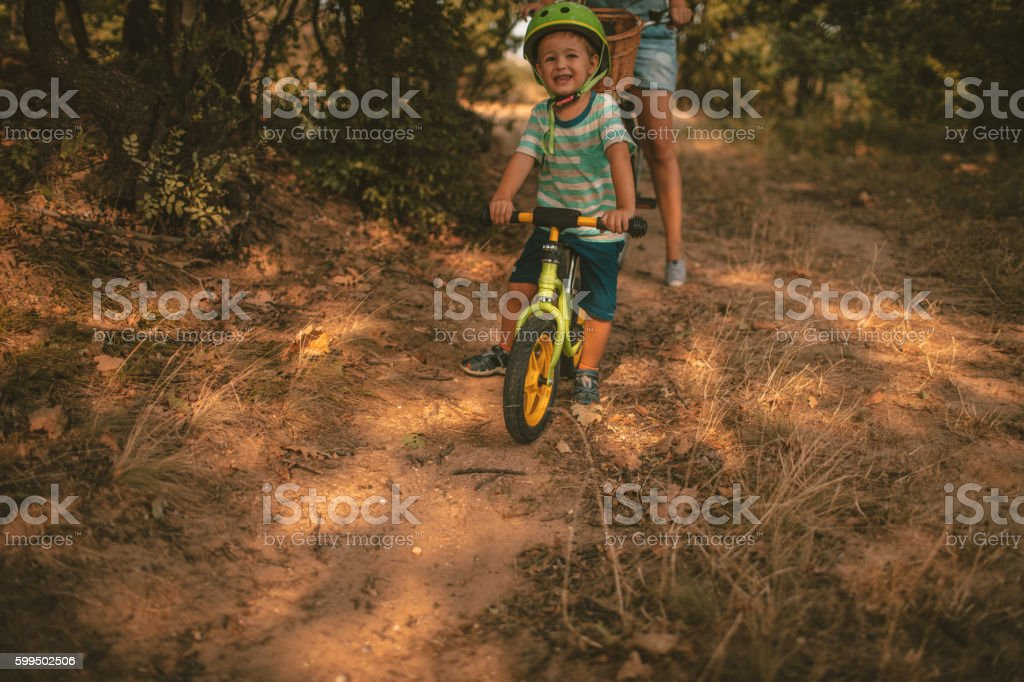 Childhood on a bicycle stock photo