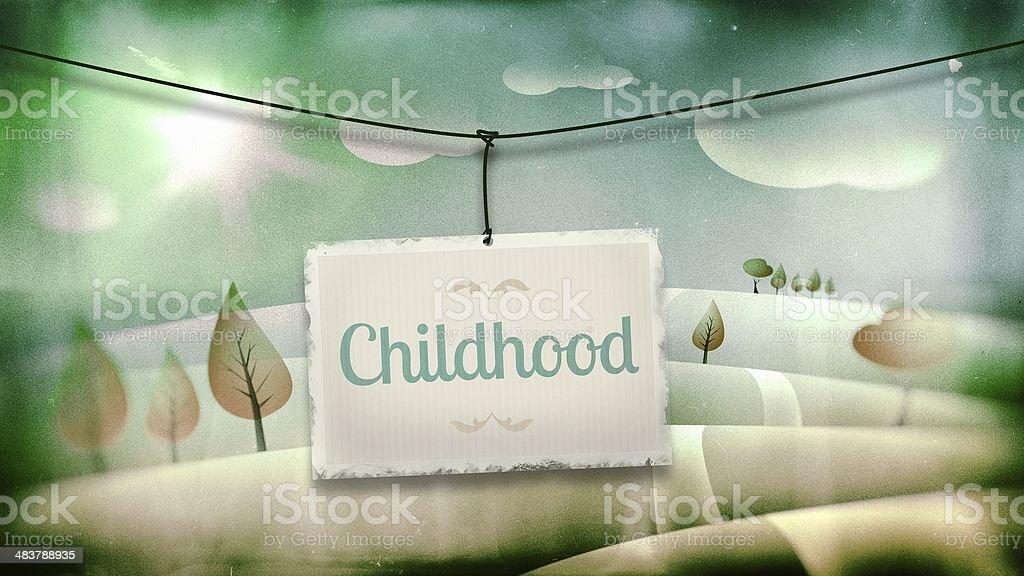 Childhood, vintage children illustration with landscape royalty-free stock photo