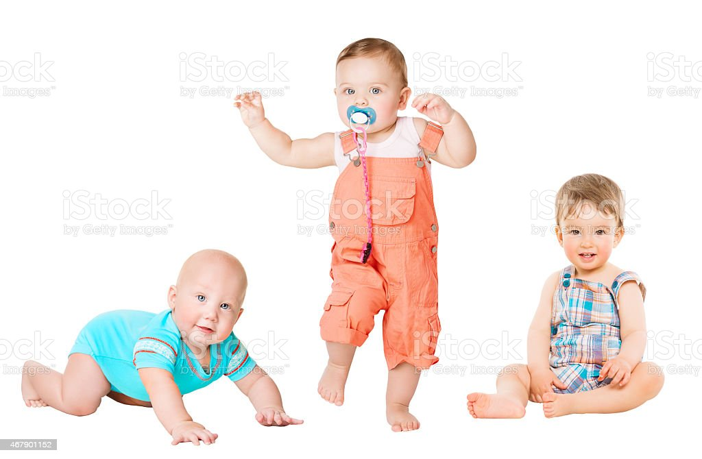 Children Active Growth Portrait, Little Kids, Activity Baby Crawling Sitting stock photo