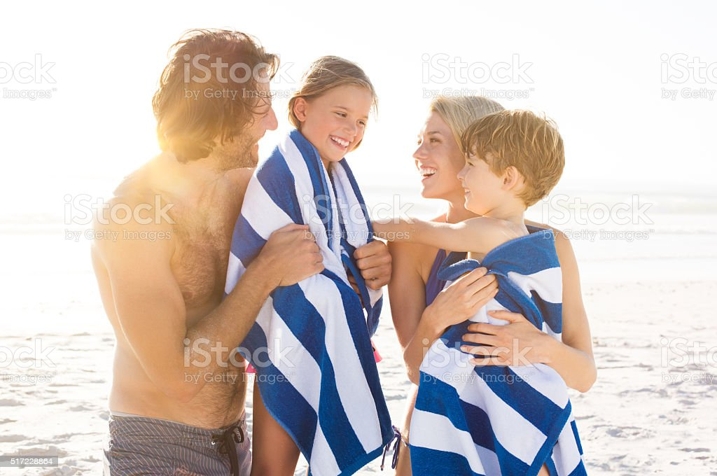 Children after swim stock photo