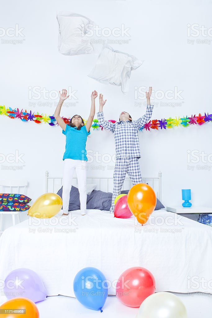 Children and bedroom party royalty-free stock photo