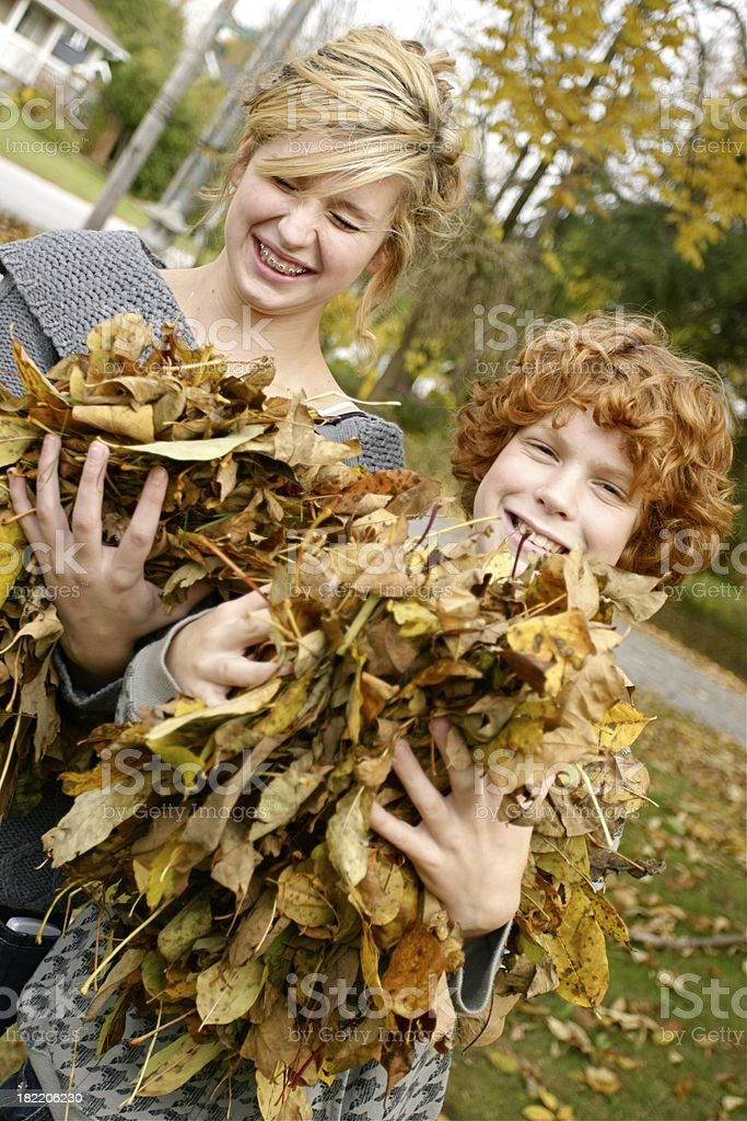 Children and Leaves royalty-free stock photo