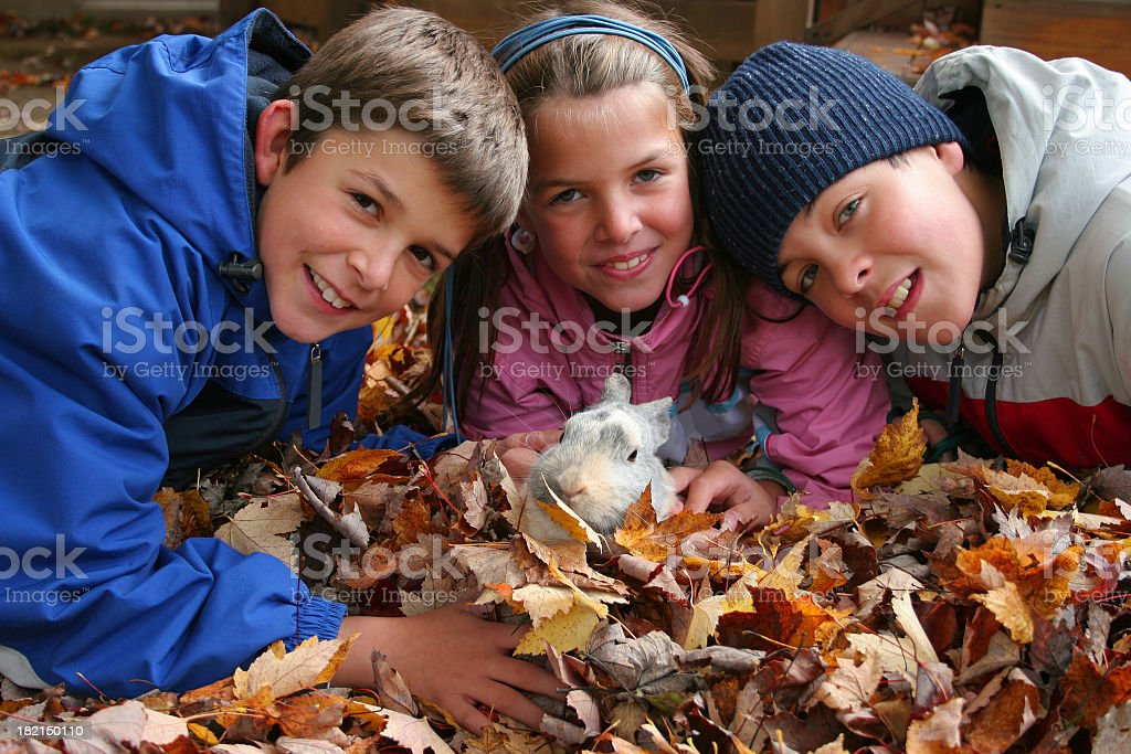 Children and little bunny royalty-free stock photo