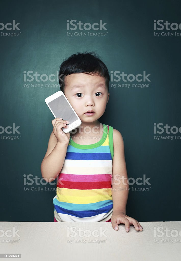 Children and mobile phone royalty-free stock photo