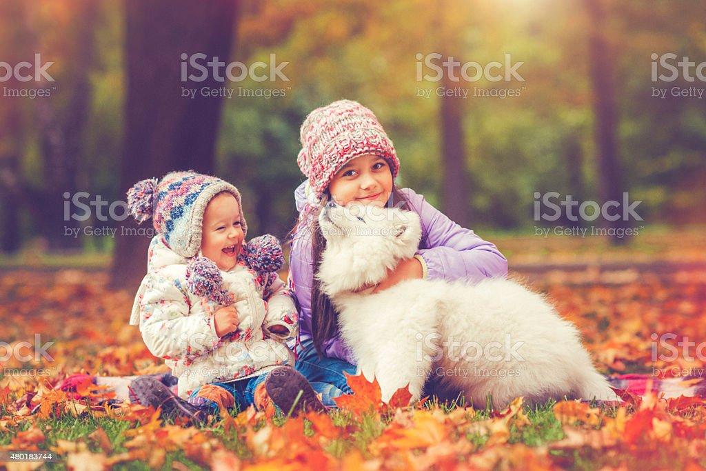 Children and puppy stock photo