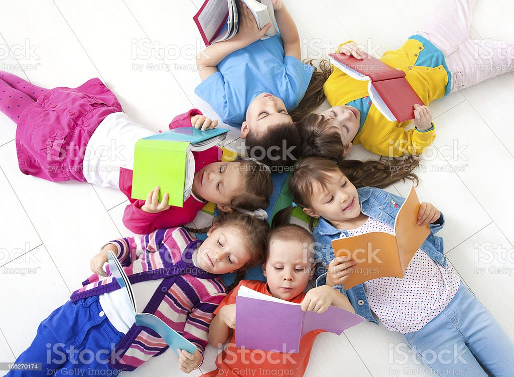 Children are reading stock photo