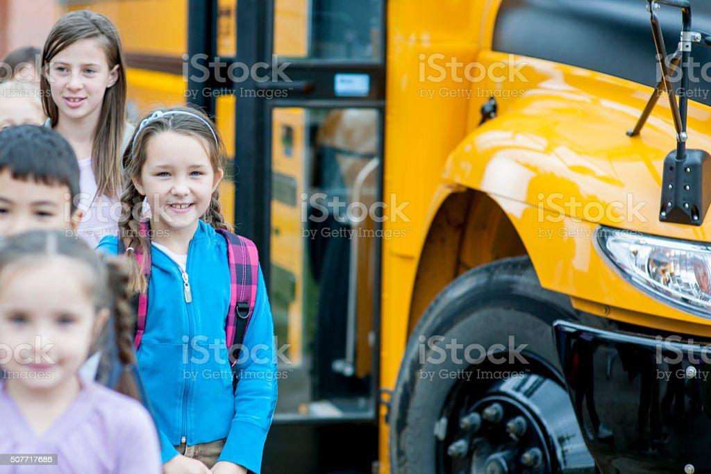 Children Arriving at School stock photo