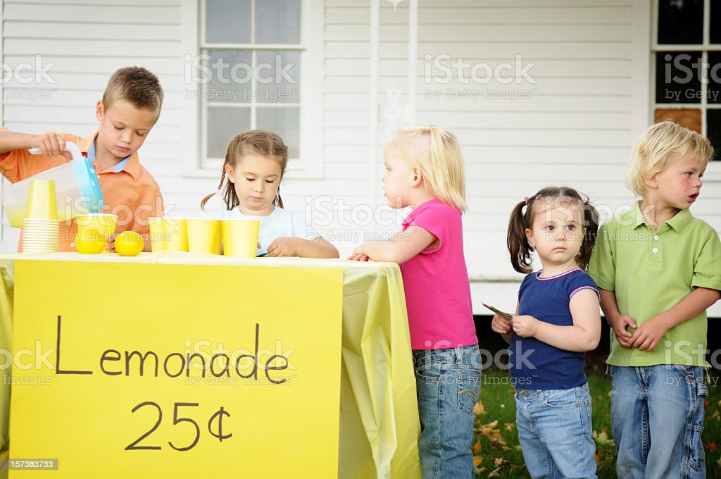 Children at a Lemonade Stand stock photo