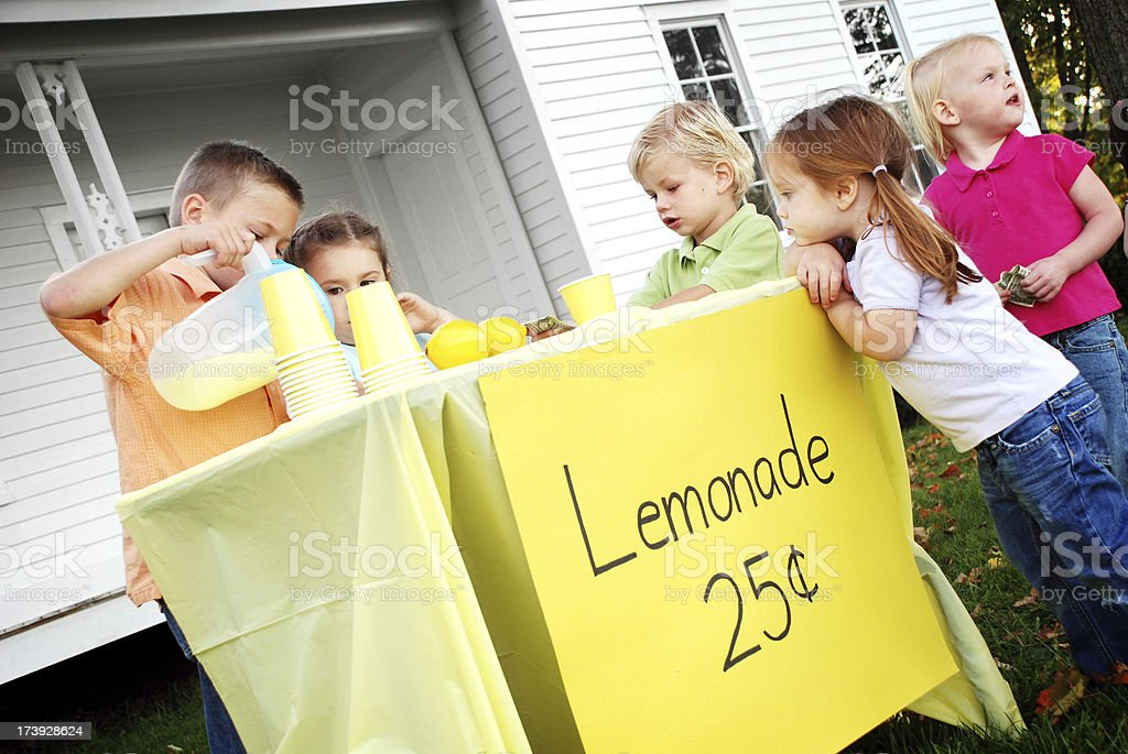 Children at a Lemonade Stand royalty-free stock photo
