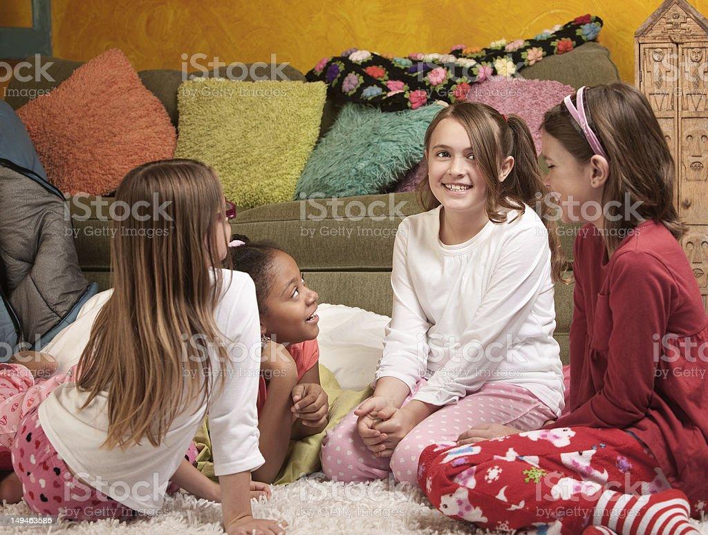 Children at a Sleepover stock photo