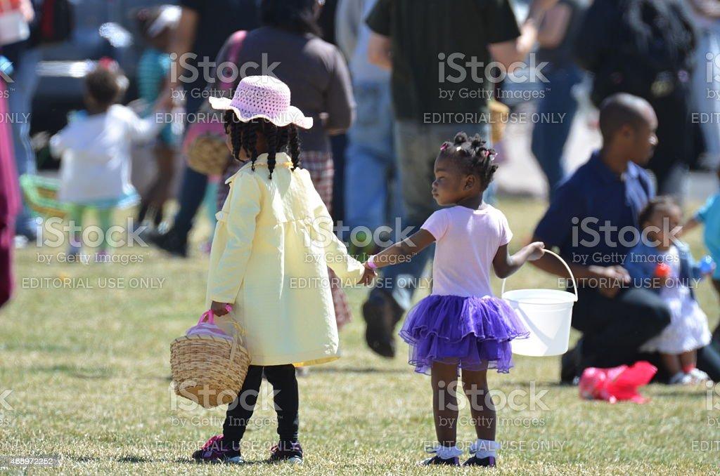 Children at an Easter Egg Hunt stock photo