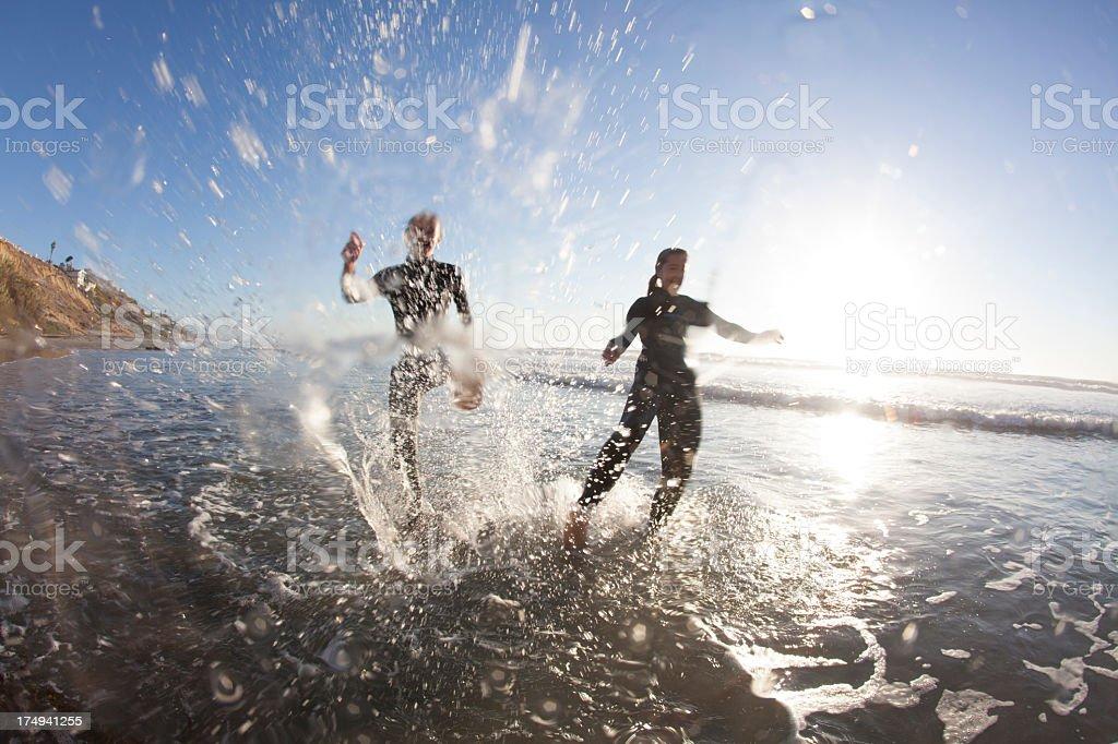 Children at beach stock photo