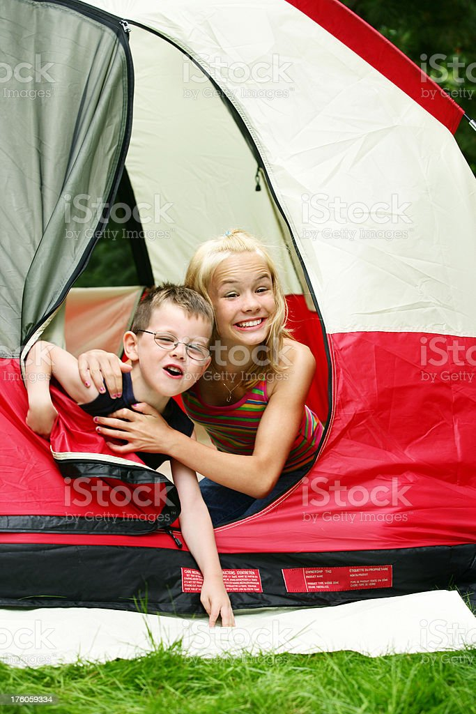 Children at camping site royalty-free stock photo