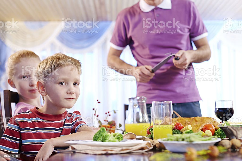 Children at dinner royalty-free stock photo