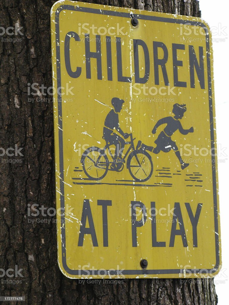 Children at Play Sign Vintage royalty-free stock photo