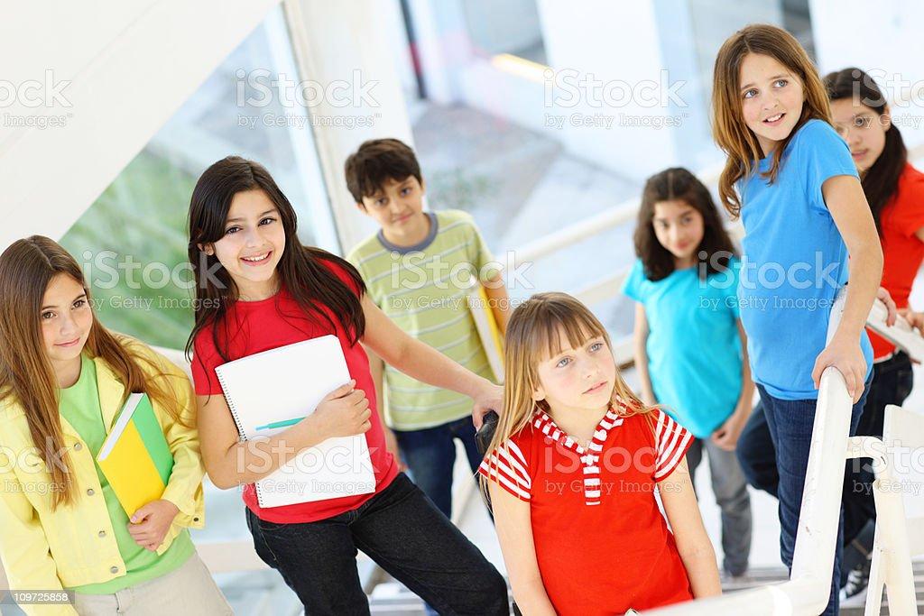 Children at School in Hallway royalty-free stock photo