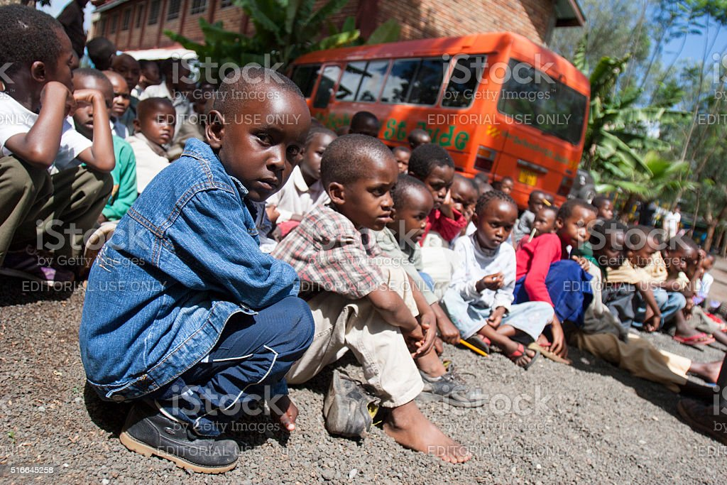 Children at School of St Jude in Tanzania. stock photo