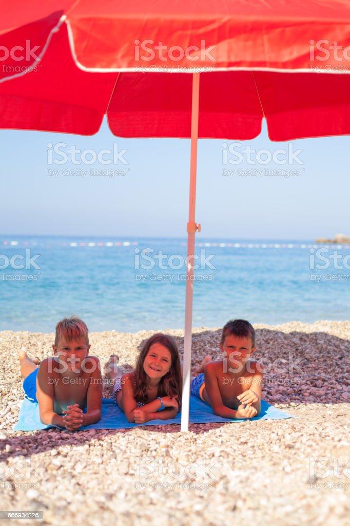 Children at the Beach stock photo