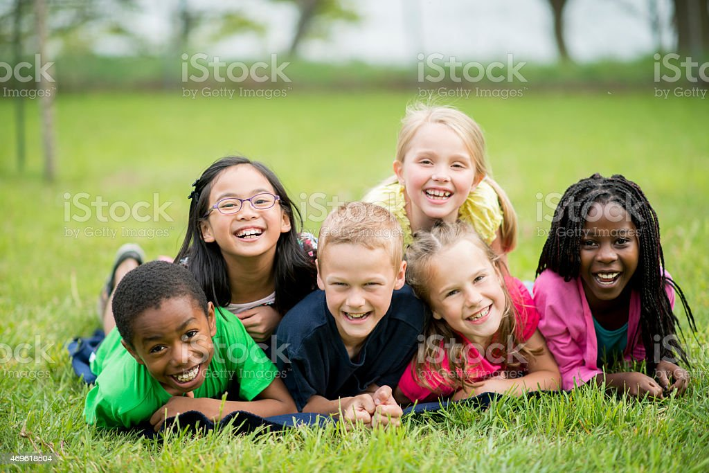 Children at the Park stock photo