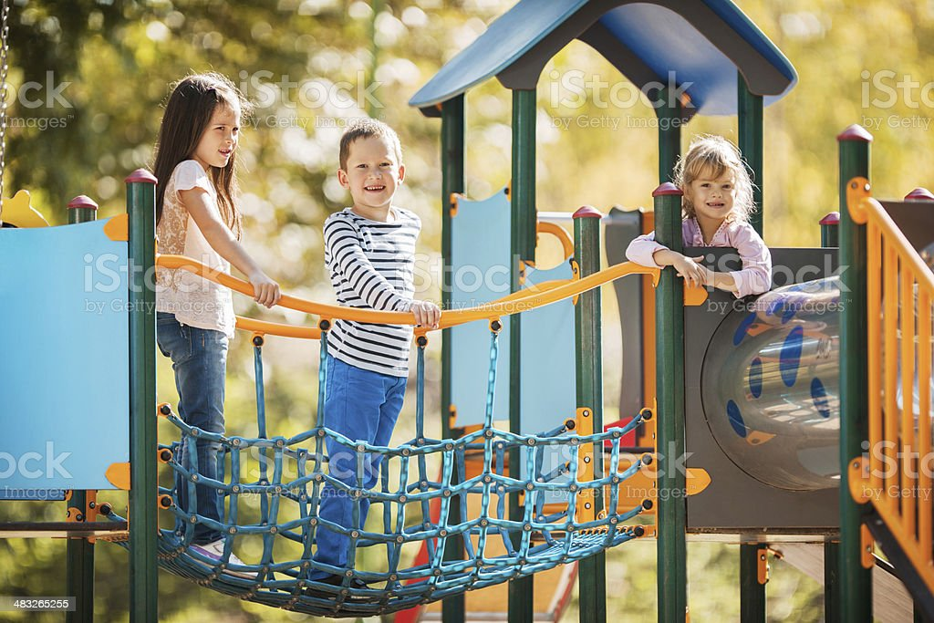 Children at the playground. stock photo