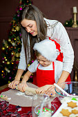 children baking christmas cookies