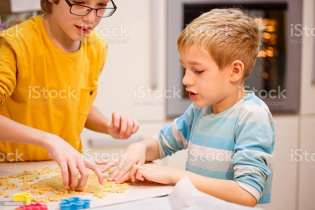Children baking cookie cutters stock photo