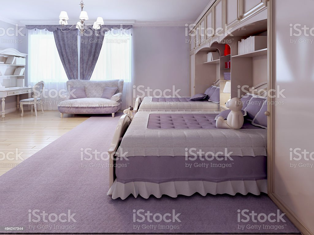 Children bedroom with sofa and desk stock photo