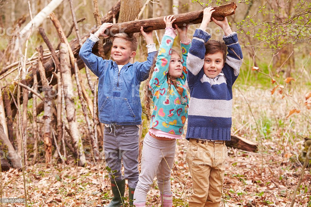 Children Building Camp In Forest Together stock photo