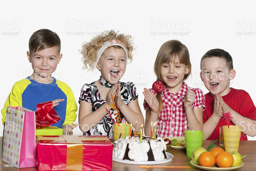 Children celebrate birthday at the table royalty-free stock photo