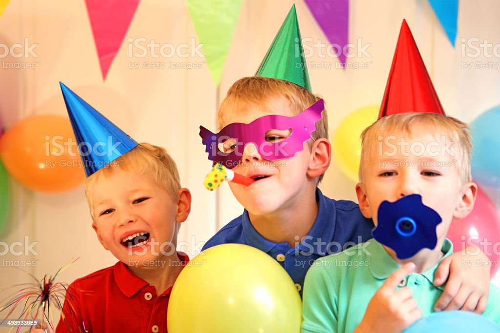 Children Celebrating a Birthday Party stock photo