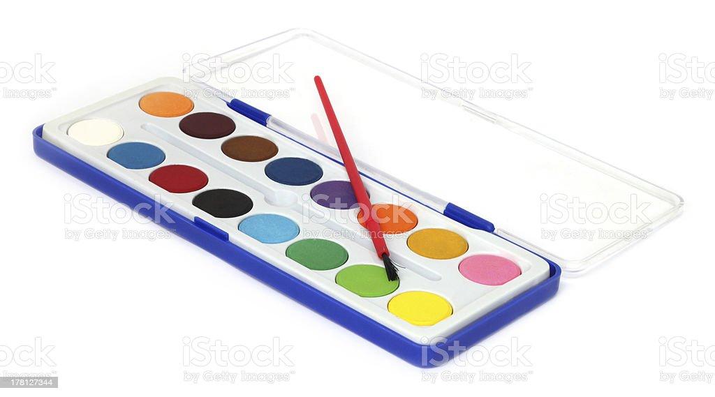 Children color palette box stock photo