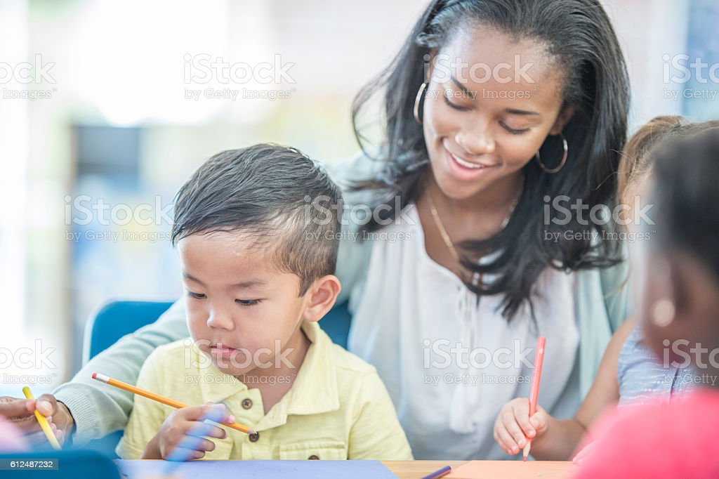 Children Coloring in Class stock photo