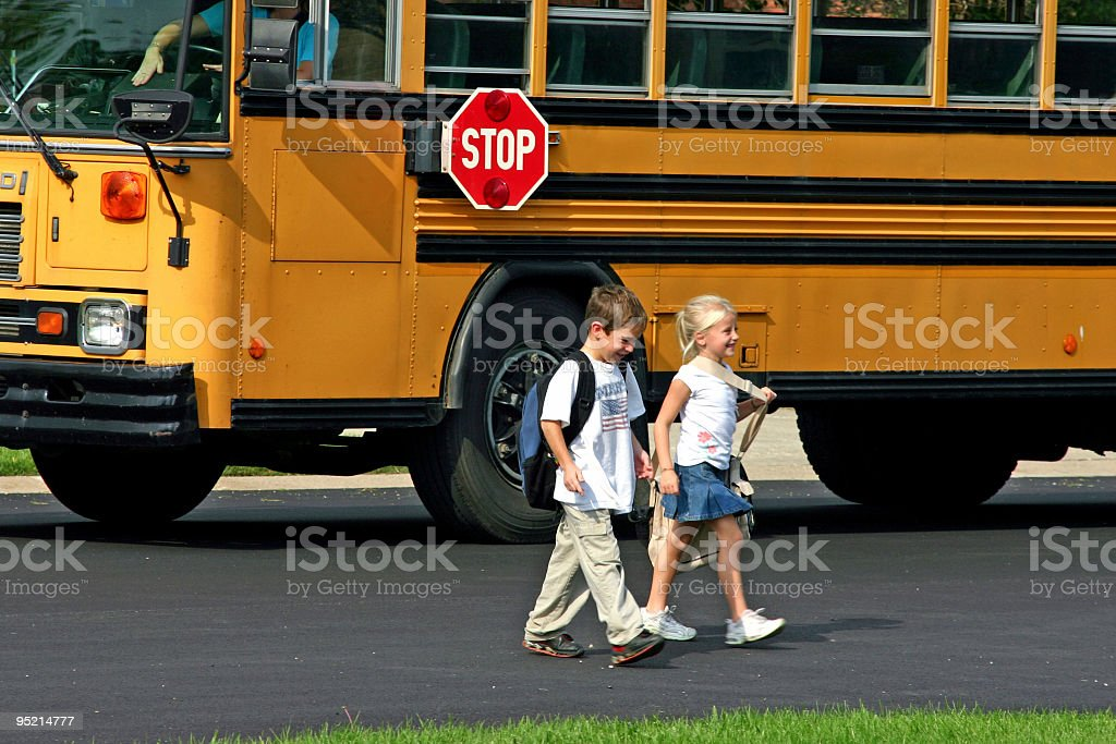 Children Coming Home From School stock photo