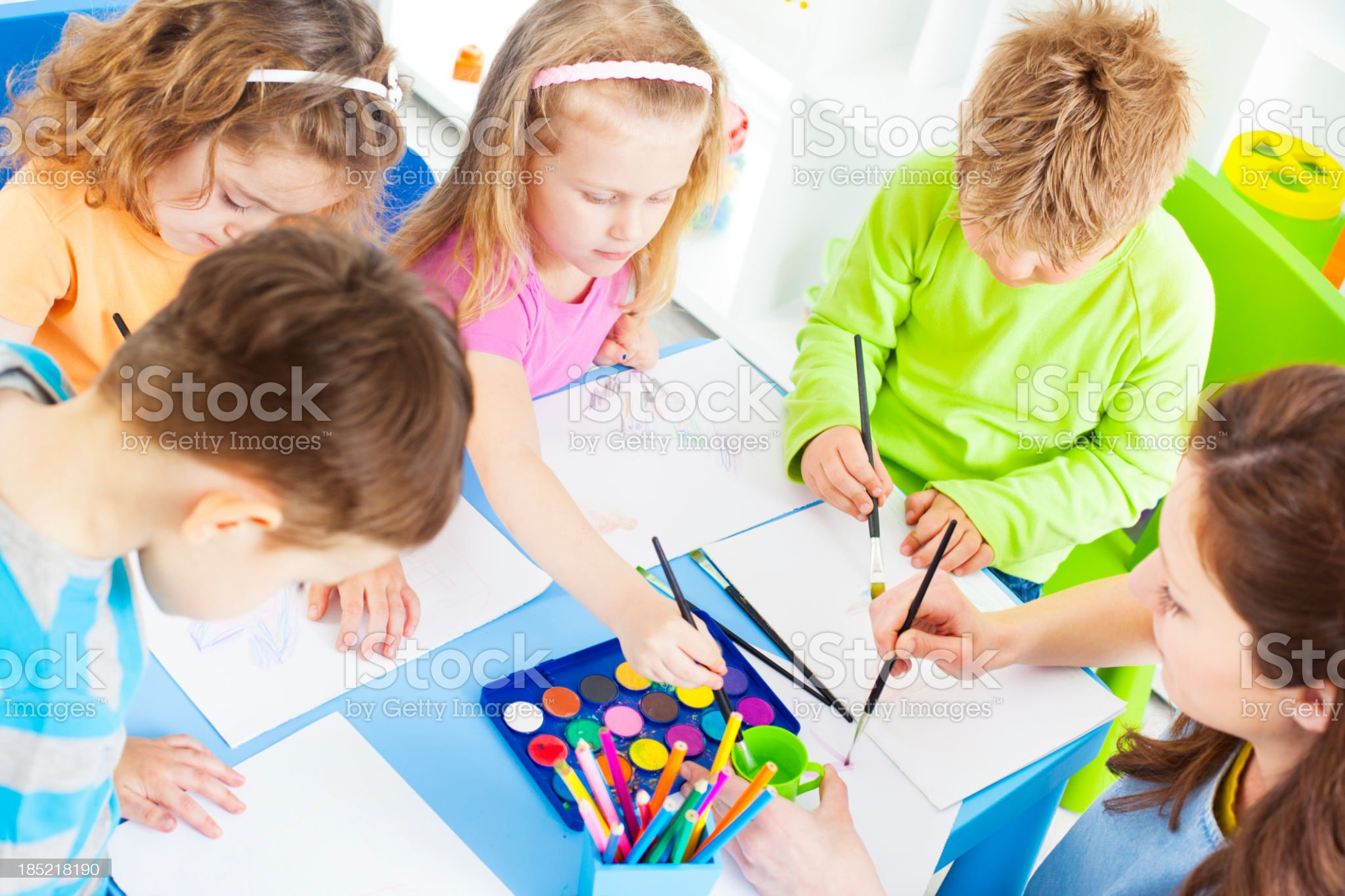 Children Craft Activities Coloring and Drawing. royalty-free stock photo