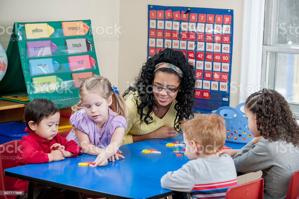Children Creating Shapes stock photo