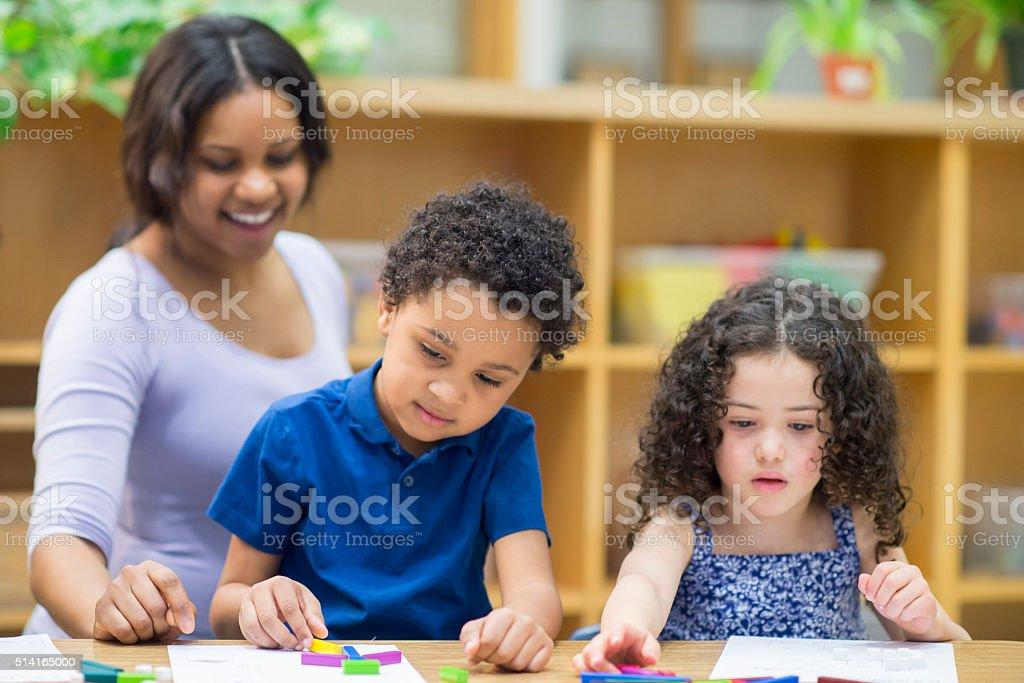 Children Creating Shapes stock photo