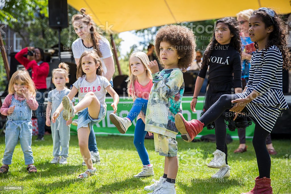 Children dance workshop  Amsterdam Roots Open Air festival stock photo