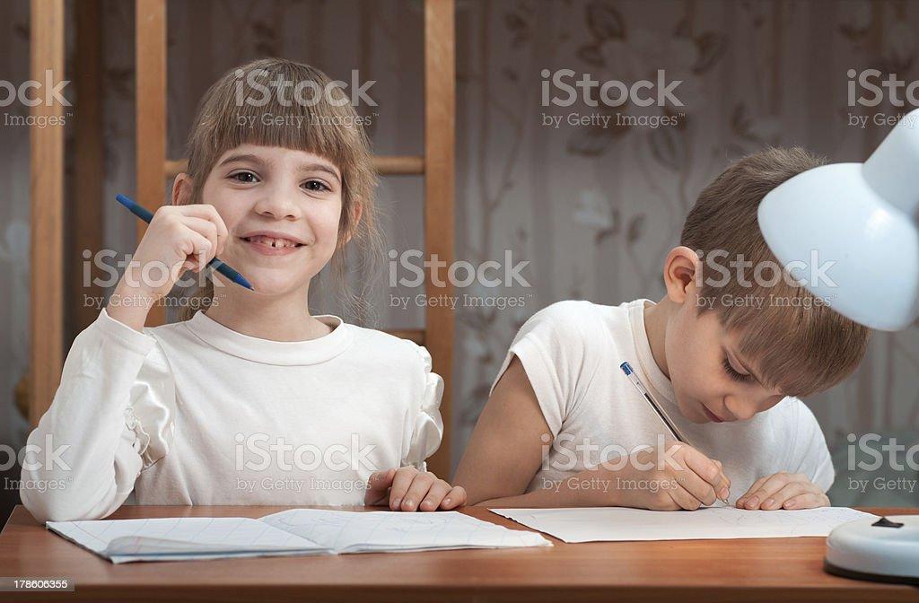 children do their homework royalty-free stock photo