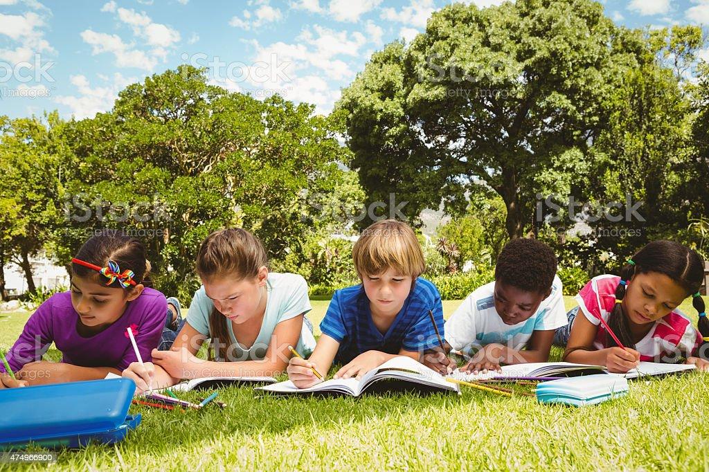 Children doing homework at park stock photo