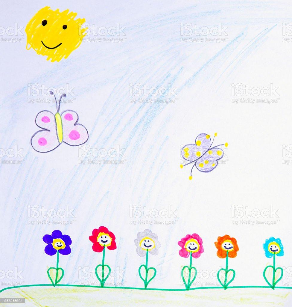 Children Drawing Flower cartoon stock photo