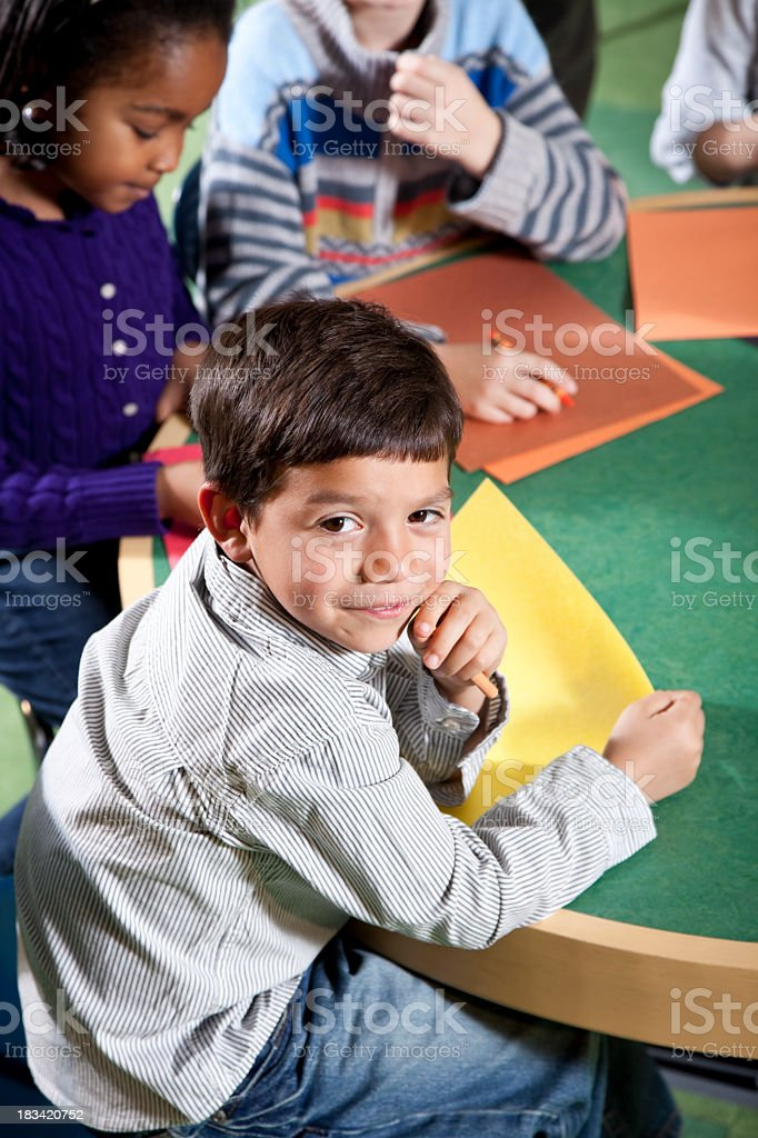 Children drawing in art class stock photo