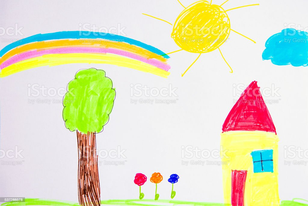 Children Drawing Sweet home stock photo