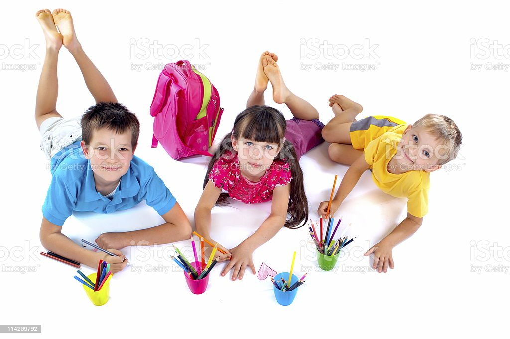 Children drawing together royalty-free stock photo