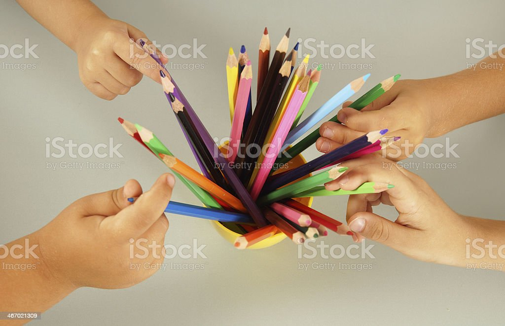 children drawing with crayons royalty-free stock photo