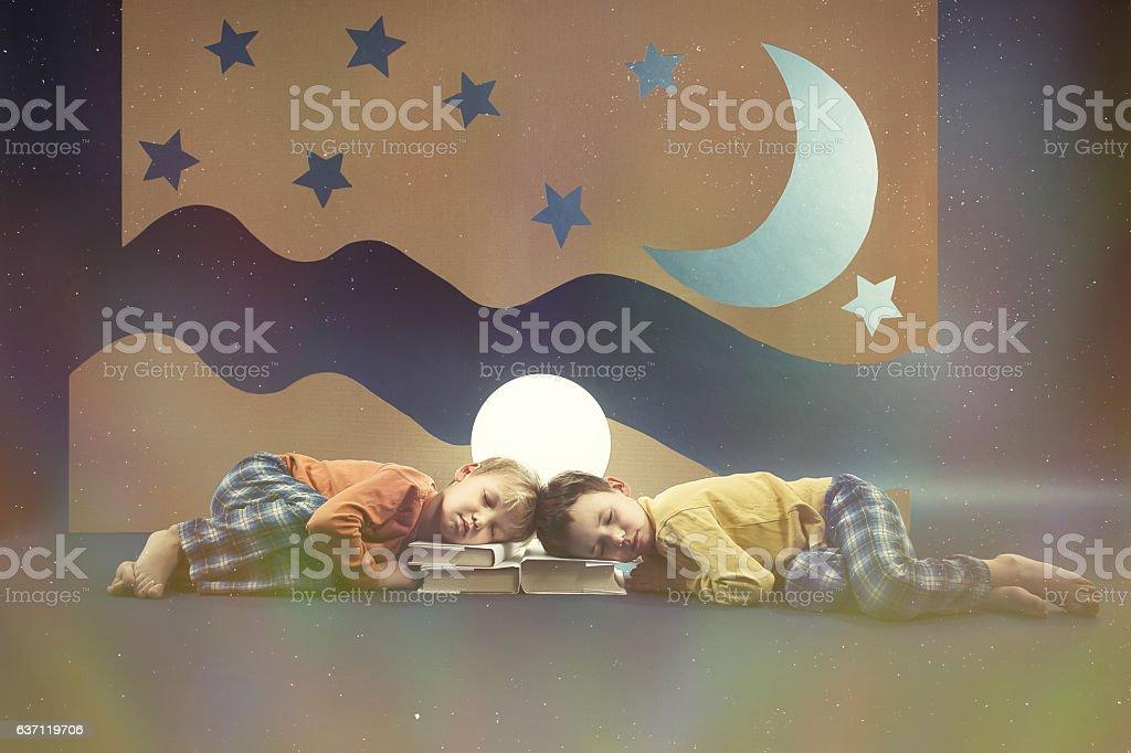 Children dreaming at night stock photo
