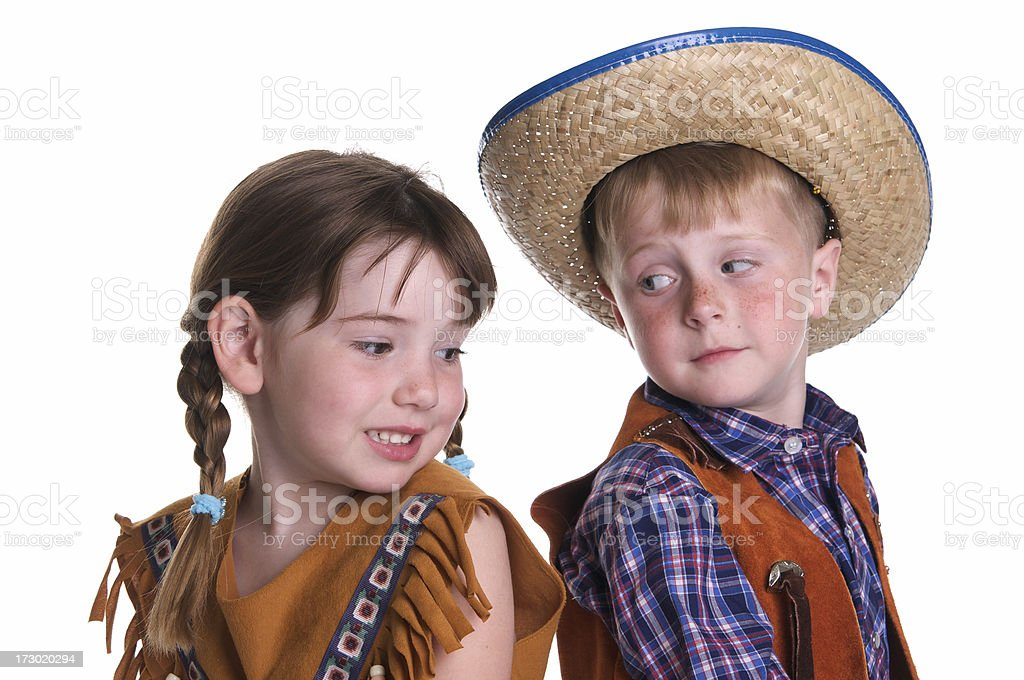 Children Dressed as a Cowboy and  Indian stock photo
