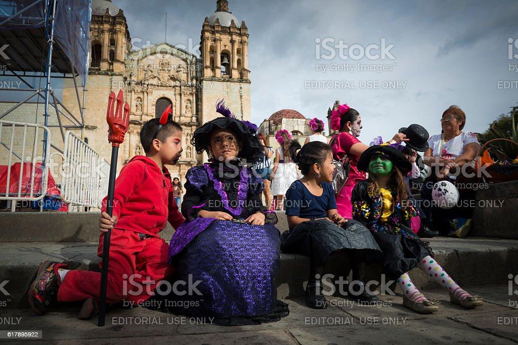 Children dressed for Día de los Muertos in Oaxaca, Mexico stock photo