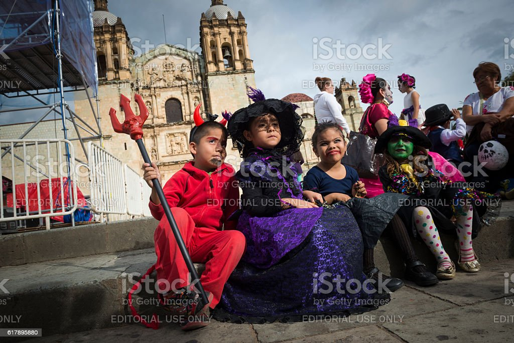 Children dressed for Día de los Muertos in Oaxaca, Mexico stock photo