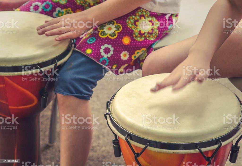 Children Drumming stock photo