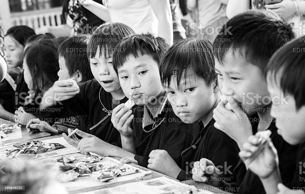 Children eat moon cake festival stock photo